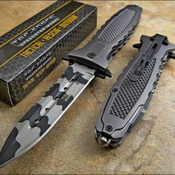 Tac-Force High Carbon Assisted Opening Urban Camo Dagger Glass Breaker Knife New