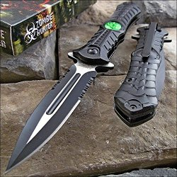 Zombie Hunter Black Assisted Toxic Green Biohazard Dagger Blade Knife New
