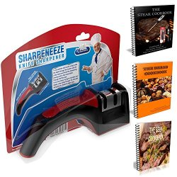 Premium Knife Sharpener - Complete Bundle With Over 33 Recipe Ebooks - Two Stage Knife Sharpening Tool For Pocket, Kitchen, Hunting And Fishing Stainless Steel Knives - Coarse And Smooth Settings - Small Kitchen And Home Improvement System - Safety Hand G