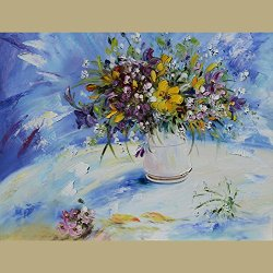 Fine Art Artwork Unframed Knife Painting Palette Knife Modern Home Decor Art On Canvas Flower 12X15 In/30X37.5Cm