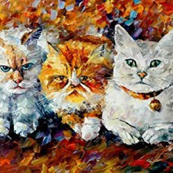 Kittens Art Wall Decorative Canvas Knife Painting On Canvas 36 X 24 In 90 X 60 Cm Unframed