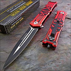 Tac-Force Red Black Punisher Skull Dagger Glass Breaker Knife!