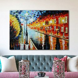 Iarts Paris Street Wall Art 100% Hand Painted Landscape Knife Oil Painting On Canvas Knife Painted Wall Art(Unstretch No Frame)