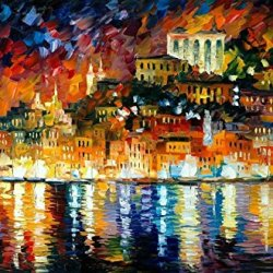 Palette Knife Painting,Unframed High Quality Modern Artwork With Inviting Harbor On Canvas 36 X 24 In