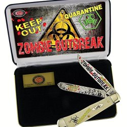 Case Cutlery Cat-Zb/Wsb Trapper Smooth Natural Bone Stainless Steel Blades Gift Tin