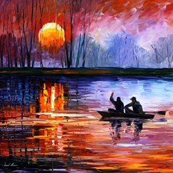 Decorative Room (Unframe And Unstretch) 100% Hand-Painted Palette Knife Oil Painting On Canvas,Fishing On The Lake,30 X 30 Inch (75Cm X 75Cm)
