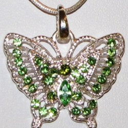 Butterfly Rhinestone Necklace - Green