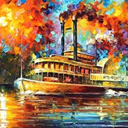 Steamboat Oil Paintings Modern Canvas Wall Art Decor For Home Decoration Palette Knife On Canvas 40 X 24 In Unframed