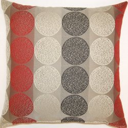 Dakotah Knife Edge Circle Toss Pillow, 17 By 17-Inch, Rocket, Set Of 2