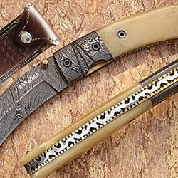 Angular Damascus Steel Blade Pocket Knife Bone Handle