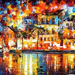 Fine Art Painting Superb Quality And Craftsmanship On Canvas Palette Knife The Shores Of Spain 30 X 24 In Unframed