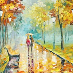 Original Painting Happy Time With Lover Painting Contemporary Artwork Knife Paintng Oil Painting Wall Art Canvas Unframed Painting 33X24In/82.5X60Cm
