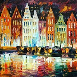 Amsterdam' Panorama Oil Paintings Modern Canvas Wall Art Decor For Home Decoration Palette Knife On Canvas 36 X 24 In Unframed