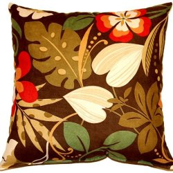Dakotah 17 By 17-Inch Fun Floral Knife Edge Pillow, Chocolate, Set Of 2