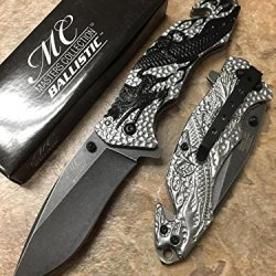 Master Collection Light Grey Dragon Blue Background Handle Stainless Steel Stone Wash Black Blade Knife