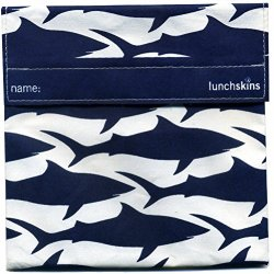 Lunchskins Reusable Sandwich Bag, Navy Blue Shark