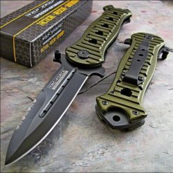 Tac-Force Spear Point Grooved Green Aluminum Handles Knife New