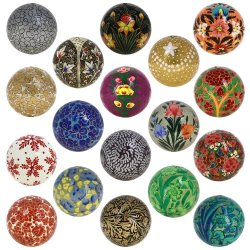 Christmas Tree Hanging Ornaments Handmade Paper Mache Balls 3 Inch Set Of 18