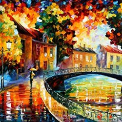 Decorative Room (Unframe And Unstretch) 100% Hand-Painted Palette Knife Oil Painting On Canvas,Old Bridge,40 X 30 Inch (100Cm X 75Cm)