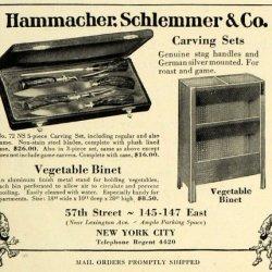1927 Ad Hammacher Schlemmer Carving Knives Vegetable Binet Cabinet Housewares - Original Print Ad