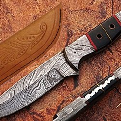Bloody Eleventh Hunting Knife Damascus Steel Blade And Bolsters Horn Handle