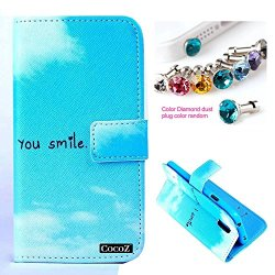 Cocoz® Samsung Galaxy S5 I9600 Case_1 Beautiful The Style Of Light Blue You Smile Design Pu Leather Wallet Type Flip Case Cover With Credit Card Holder Slots Case For Samsung Galaxy S5 Release On 2014 (Light Blue You Smile)