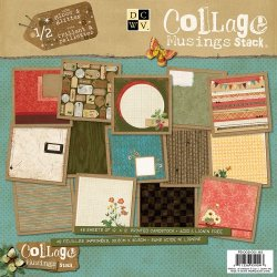 Die Cuts With A View 12-Inch By 12-Inch Collage Musings Paper Stack With Gloss/Glitter