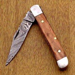 "Rose Wood 5.3"" Handmade Damascus Steel Folding Pocket Knife"