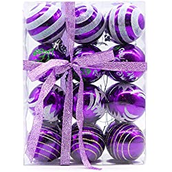 "Yoland Shatterproof Christmas Balls Colored Painting ChristmasTrees Pendant Ornaments in Gift Boxes with Ribbon for Garden, Party, Indoor and Outdoor Décor Pack of 24ct (60mm / 2.36"", Purple)"