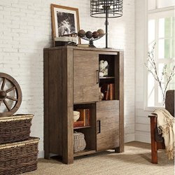 Weathered Walnut Finish Storage Display Cabinet Features A Combination Of Open Shelving And Doored Shelved Compartments