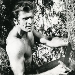 Ron Ely Holding Knife Up Tree From Tarzan Tv Series Original Photograph