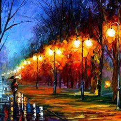 100% Oil Painting Unframed Fall, Rain, Alley... Home Decoration Modern Knife Painting On Canvas 36 X 30 In 90 X 75 Cm