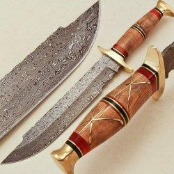 Handmade Damascus Steel Hunting, Bowie Knife Amz-22