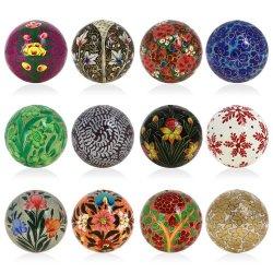 Xmas Ornaments Handmade Paper Mache Ballshanging Decor 3 Inch Set Of 12