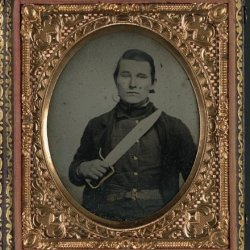 Photo: Unidentified Soldier In Confederate Uniform With D-Guard Bowie Knife