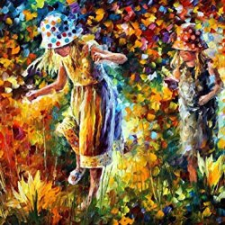 Knife Oil Painting Two Sisters 100% Hand Painted Unframed Art Painting On Canvas 40 X 30 In 100 X 75 Cm