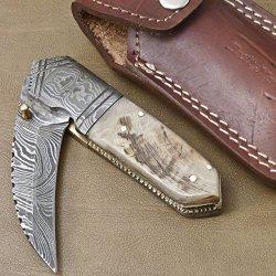 Handmade Damascus Steel Folding Pocket Knife (Liner Lock) Gi-77