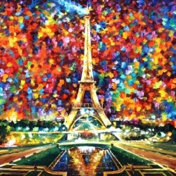 Leonid Afremov Paris Of My Dreams Palette Knife Handmade Modern Impressionist Art Oil Painting On Canvas, 40 By 30-Inch