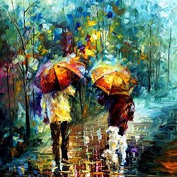 Leonid Afremov Rainy Walk With My Best Friend Palette Knife Handmade Modern Impressionist Art Oil Painting On Canvas, 30 By 36-Inch/75 By 90Cm