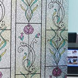 Duofire Decorative Repositionable Non-Adhesive Privacy Glass Window Film Dp005-1 (24X120Inch)