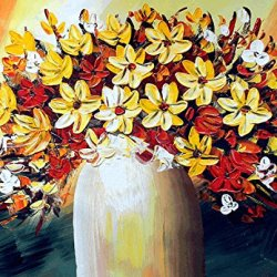 Xm Art-Bright-Coloured Flower Palette Knife Landscape Oil Painting On Canvas Wall Art Deco Home Decoration(Unstretch And No Frame)