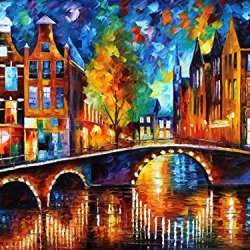 Leonid Afremov The Bridges Of Amsterdam Palette Knife Contemporary Fine Art Cityscape Oil Painting On Canvas, 40 By 30-Inch, Multicolored