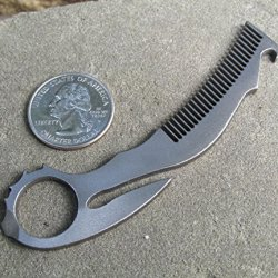 John Gray Knives - Small Titanium Tactical Edc Keychain - Karambit Bottle Opener/Beard Comb - Made In The Usa - Natural Finish