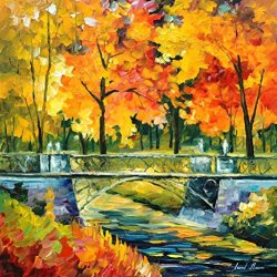 Modern Knife Painting Painting Little Bridge Wall Decor Superb Paintings On Canvas 24 X 24 In 60 X 60 Cm Unframed