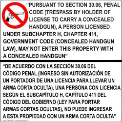 Compliancesigns.Com Aluminum Concealed Carry Sign, 30 X 30 With English + Spanish, White