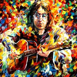 Leonid Afremov John Lennon Palette Knife Modern Impressionist Art Oil Painting On Canvas, 30 By 36-Inch