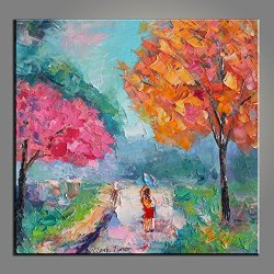 Palette Knife 10X10 In/25X25Cm Spring Tree,Fine Art Superb Quality And Craftsmanship,Unframed Knife Painting Wall Art