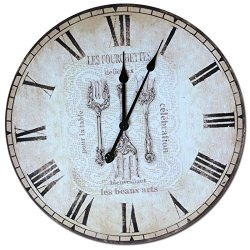 European And American Retro Wall Clock Creative Decorative Wooden Knife And Fork