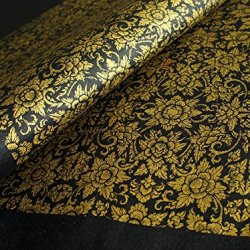 "Exotic Elegance 2 Sheet Gift Wrap Mulberry Paper Golden Thai Floral Painting On Black 31.5""X21.5"""