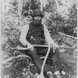 Photo: Bearded Man Armed With Ax,Rifle,Hunting Knife,Two Pistols,Maine,Me,1886